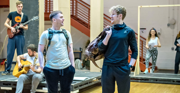 Paul-James Corrigan and Steven Miller in rehearsals for Sunshine on Leith