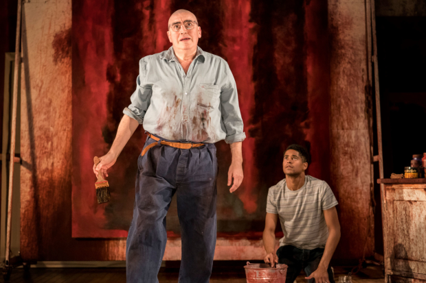 Alfred Molina as Mark Rothko and Alfred Enoch as Ken in Red