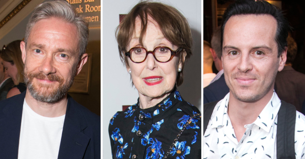 Martin Freeman, Una Stubbs and Andrew Scott at the opening night of Red