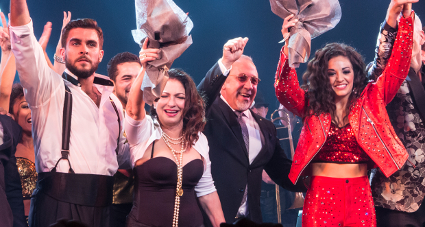 Gloria Estefan and Emilio Estefan   (centre) with the Broadway cast of On Your Feet! in 2015