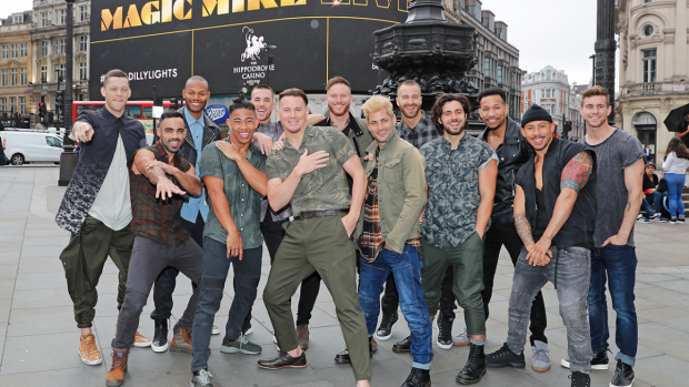 Channing Tatum with the Britain's Got Talent cast of Magic Mike Live