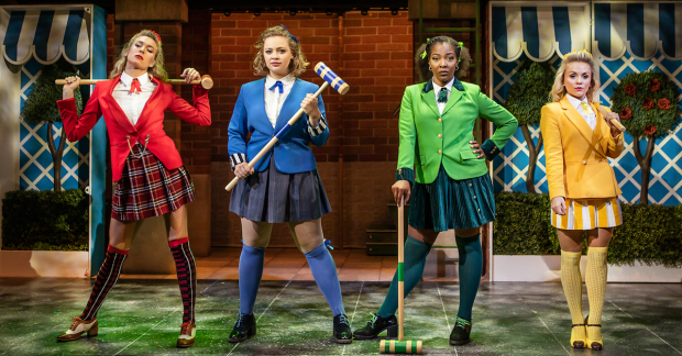 Jodie Steele (Heather Chandler), Carrie Hope Fletcher (Veronica Sawyer), T'Shan Williams (Heather Duke) and Sophie Isaacs (Heather McNamara)