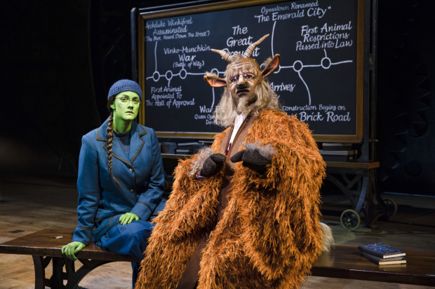Alice Fearn (Elphaba) and Chris Jarman (Doctor Dillamond) in Wicked