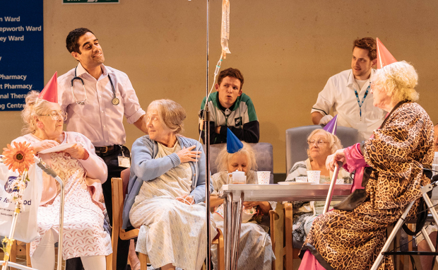 Patricia England (Mavis), Sacha Dhawan (Dr Valentine), Julia Foster (Mary) and members of the company of Allelujah!