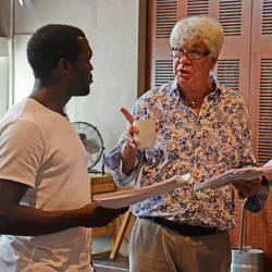 Ansu Kabia and Matthew Kelly in rehearsals