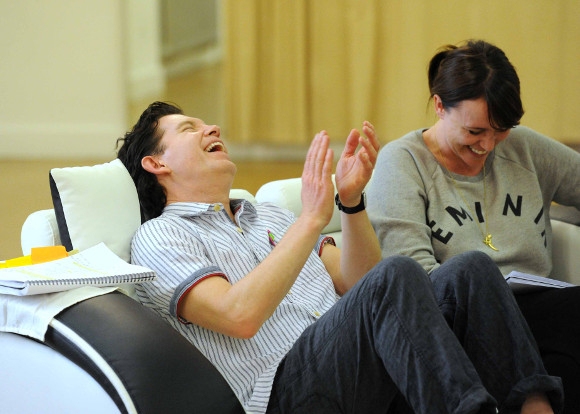 Lee Evans and Keeley Hawes in rehearsal for Barking in Essex