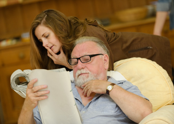 Louise Brealey and Kenneth Cranham in rehearsals for The Herd