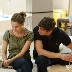 Louise Brealey and Adrian Bower in rehearsal for The Herd