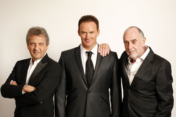 Russell Watson (centre) with Les Mis composers Alain Boublil (left) and Claude-Michel Schonberg (right)