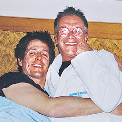 Friend to the stars: Michael White with Hugh Grant