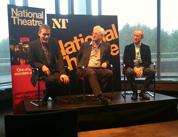 Rufus Norris, John Makinson and Nicholas Hytner at this morning's press conference