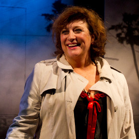Caroline Quentin during the curtain call of Terrible Advice