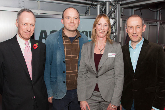 Luke Rittner, Rory Kinnear, Joanna Read and Nicholas Hytner at the launch of Act Now! at the National Theatre