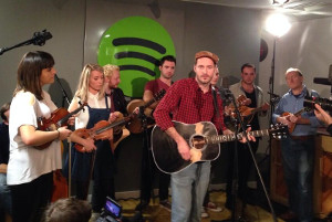 The cast of Once at the Spotify session