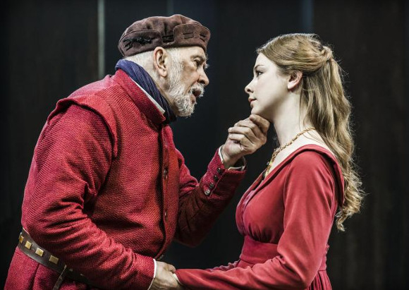 Frank Langella as King Lear and Lauren O'Neil as Regan