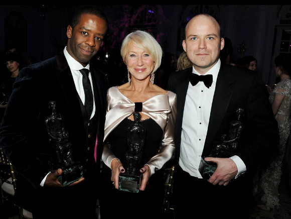Adrian Lester, Helen Mirren and Rory Kinnear with their trophies