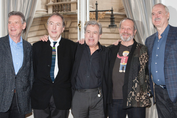 Michael Palin, Eric Idle, Terry Jones, Terry Gilliam and John Cleese at today's conference