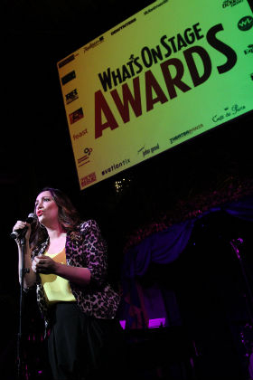 Eden Espinosa sings at the WhatsOnStage Awards launch