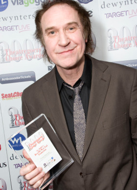 Ray Davies with his WhatsOnStage Award for Come Dancing