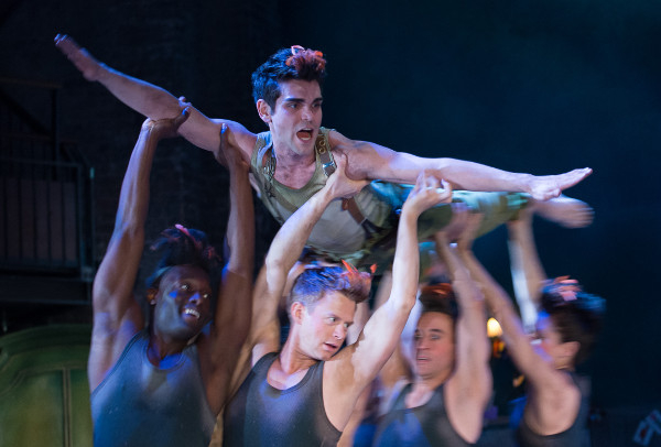 Peter Pan (Sam Swann) being held aloft by the Shadows