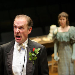 Richard Teverson as The Hon. Vere Queckett and Catherine Kinsella as Peggy Hesslerigge in The Schoolmistress at the Stephen Joseph Theatre until 4 January 2014.