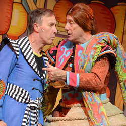 Martin Barrass and Berwick Kaler in Aladdin and the Twankeys at York Theatre Royal until  1 February 2014.