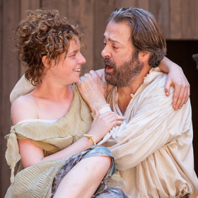 Jessie Buckley with Roger Allam in The Tempest (Shakespeare's Globe)