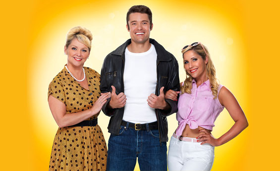 Ben Freeman (The Fonz) with co-stars Cheryl Baker (Joanie) and Heidi Range (Pinky)