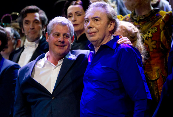 Cameron Mackintosh with fellow theatre owner Andrew Lloyd Webber at the 25th anniversary of The Phantom of the Opera