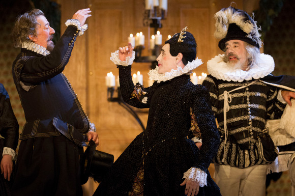 Roger Lloyd Pack with Mark Rylance and Stephen Fry during the curtain call of Twelfth Night