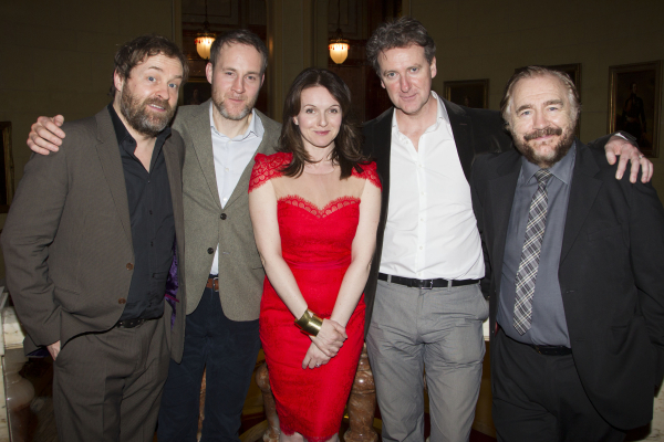 Ardal O'Hanlon (Jim), Peter McDonald (Brendan), Dervla Kirwan (Valerie), Risteard Cooper (Finbar) and Brian Cox (Jack) attend the after party for the West End transfer of The Weir at Wyndham's Theatre