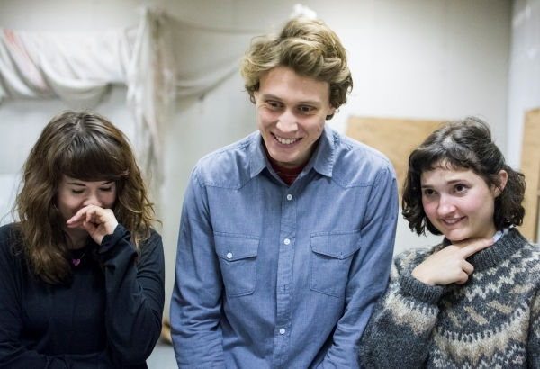 Georgia Clarke-Day (Sue), George Mackay (Jack) and Ruby Bentall (Julie) in rehearsal for The Cement Garden.