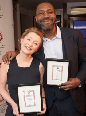 Lesley Manville and Lenny Henry with their awards