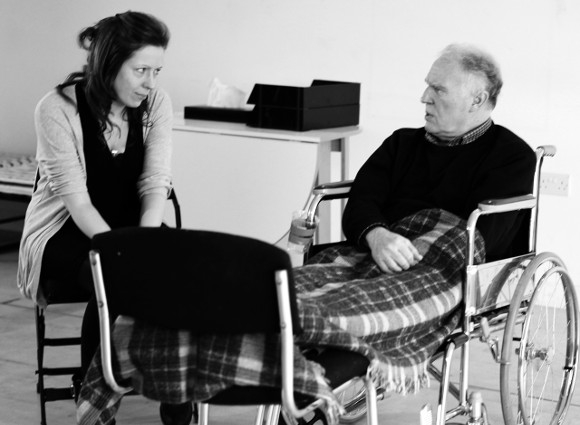 Kirsty Malpass and Tim Pigott-Smith in rehearsal for Stroke of Luck