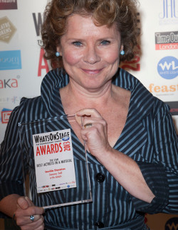 Imelda Staunton with her WhatsOnStage Award for Sweeney Todd