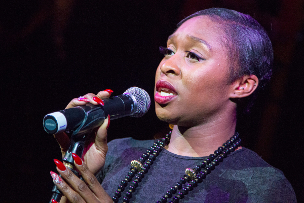 Cynthia Erivo performing at the WhatsOnStage Awards launch