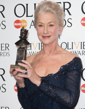 Helen Mirren with her Olivier Award for The Audience