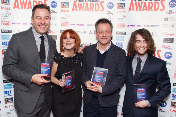 David Walliams, Sheridan Smith, Michael Grandage and Daniel Radcliffe celebrate the Grandage season wins on Sunday