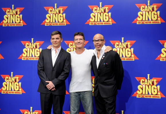Nigel Harman, Simon Cowell and Harry Hill at the launch of I Can't Sing!