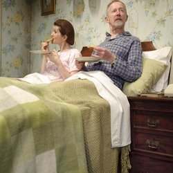 Delia and Ernest (Lynette Edwards and Chris Wilkinson) in Alan Ayckbourn's Bedroom Farce, at Harrogate Theatre until 8 March.