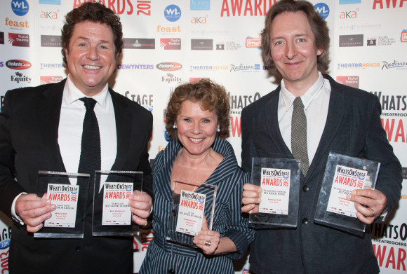 Michael Ball, Imelda Staunton and Jonathan Church at the 2013 WhatsOnStage Awards