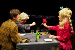 From left: James Powell, Ben Porter, Rachel Caffrey in Alan Ayckbourn's Time Of My Life