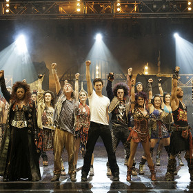 The current cast of We Will Rock You
