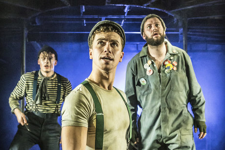 Matthew Seadon-Young, Richard Fleeshman and Jeff Nicholsan in Urinetown