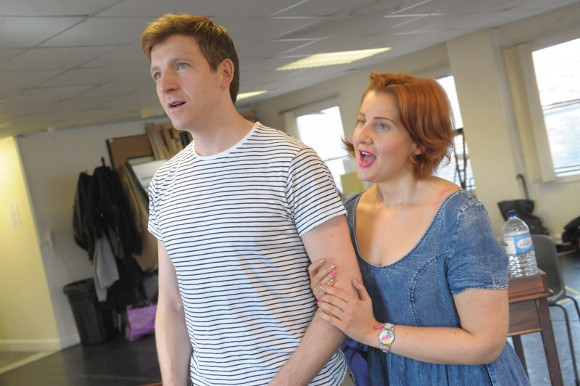 Haydn Oakley and Amy Booth-Steel in rehearsal for Betty Blue Eyes