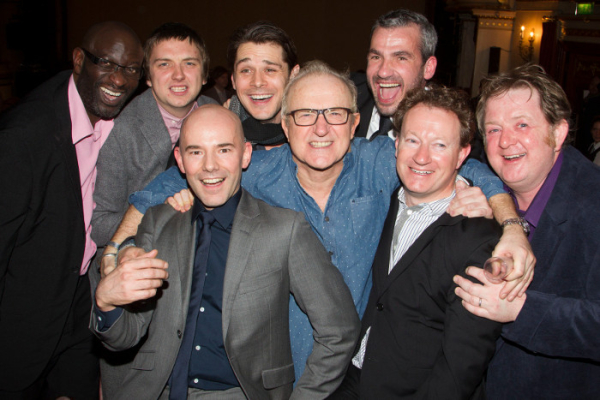 Simon Beaufoy (second from right) with the cast of The Full Monty and director Daniel Evans