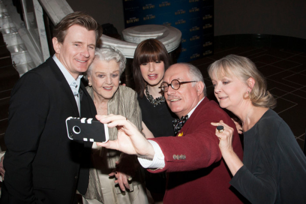Charles Edwards, Angela Lansbury, Jemima Rooper, Simon Jones and Serena Evans pose for a 'selfie' at last night's opening of Blithe Spirit