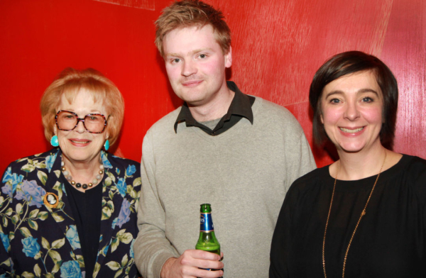 Rory Mullarkey with Antonia Fraser and Vicky Featherstone