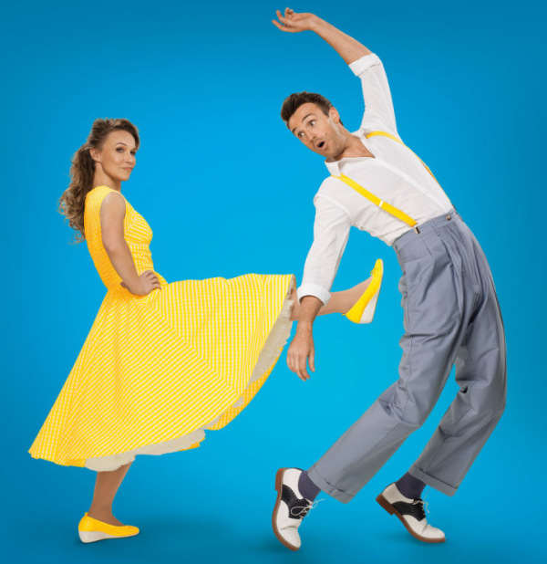 Joanna Riding and Michael Xavier in publicity material for The Pajama Game