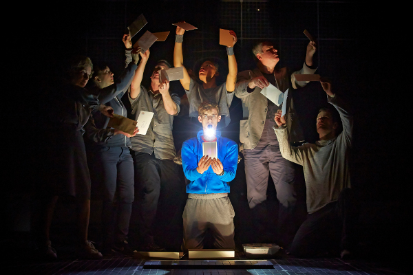 Luke Treadaway and company in the production at the Apollo Theatre